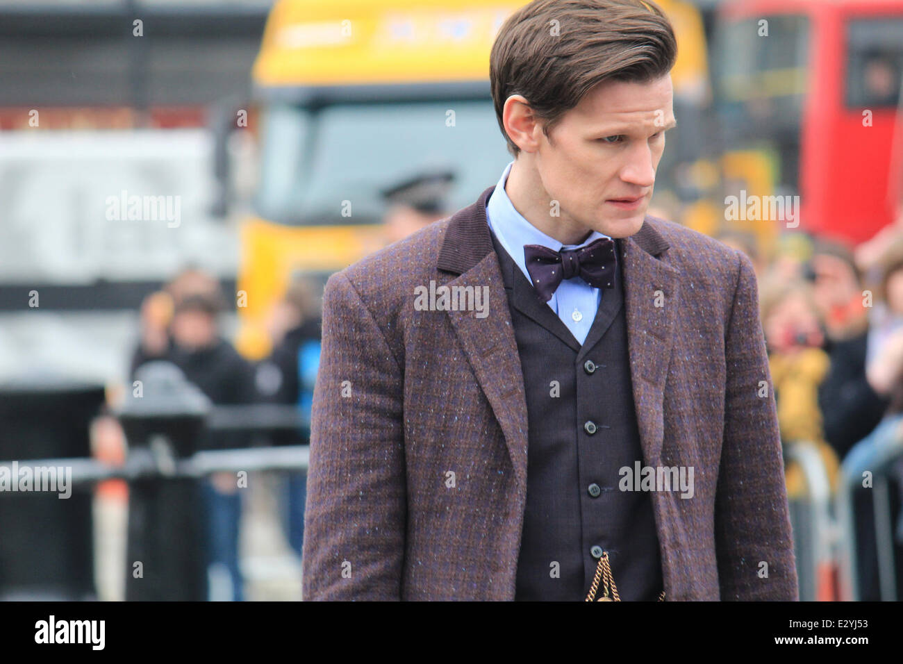 The cast of Doctor Who film the 50th anniversary special in Trafalgar Square  Featuring: Matt Smith Where: London, - Stock Image