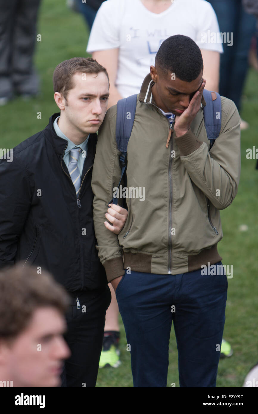 Northeastern students attend a vigil on Boston Common for victims of the Boston Marathon bombing.  Featuring: Forest - Stock Image
