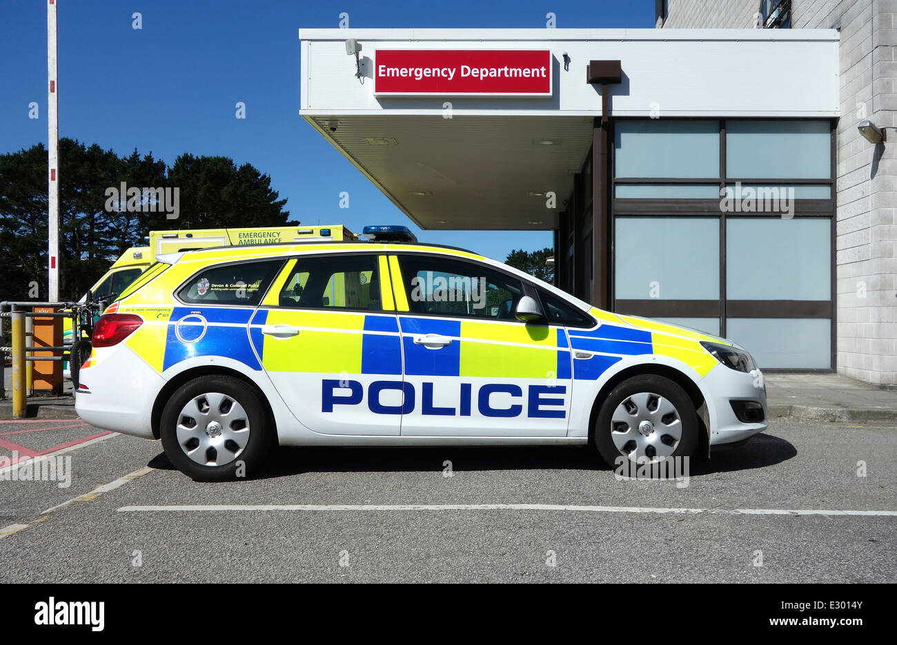 A police car parked outside the accident & emergency department at the Royal Cornwall Hospital in Truro, Cornwall, - Stock Image