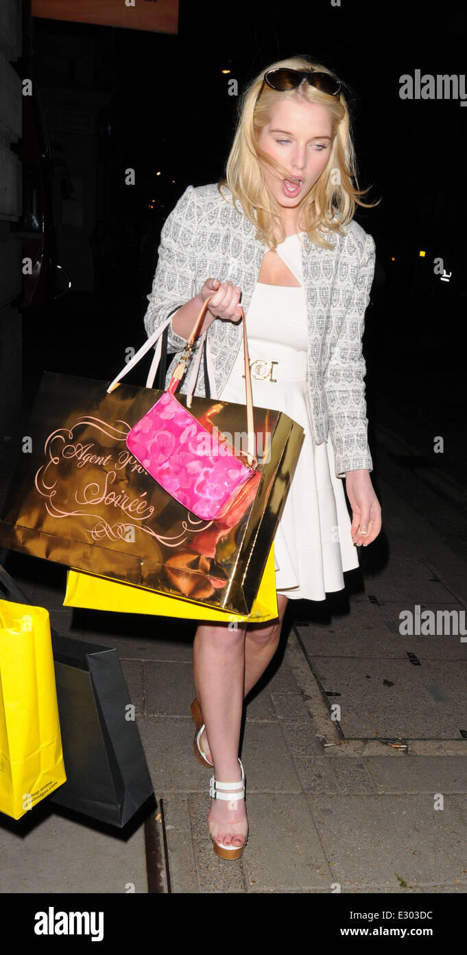 Helen Flanagan leaving the May Fair Hotel carrying a Agent Provocateur  shopping bag Featuring  Helen Flanagan Where  London d73f43b89