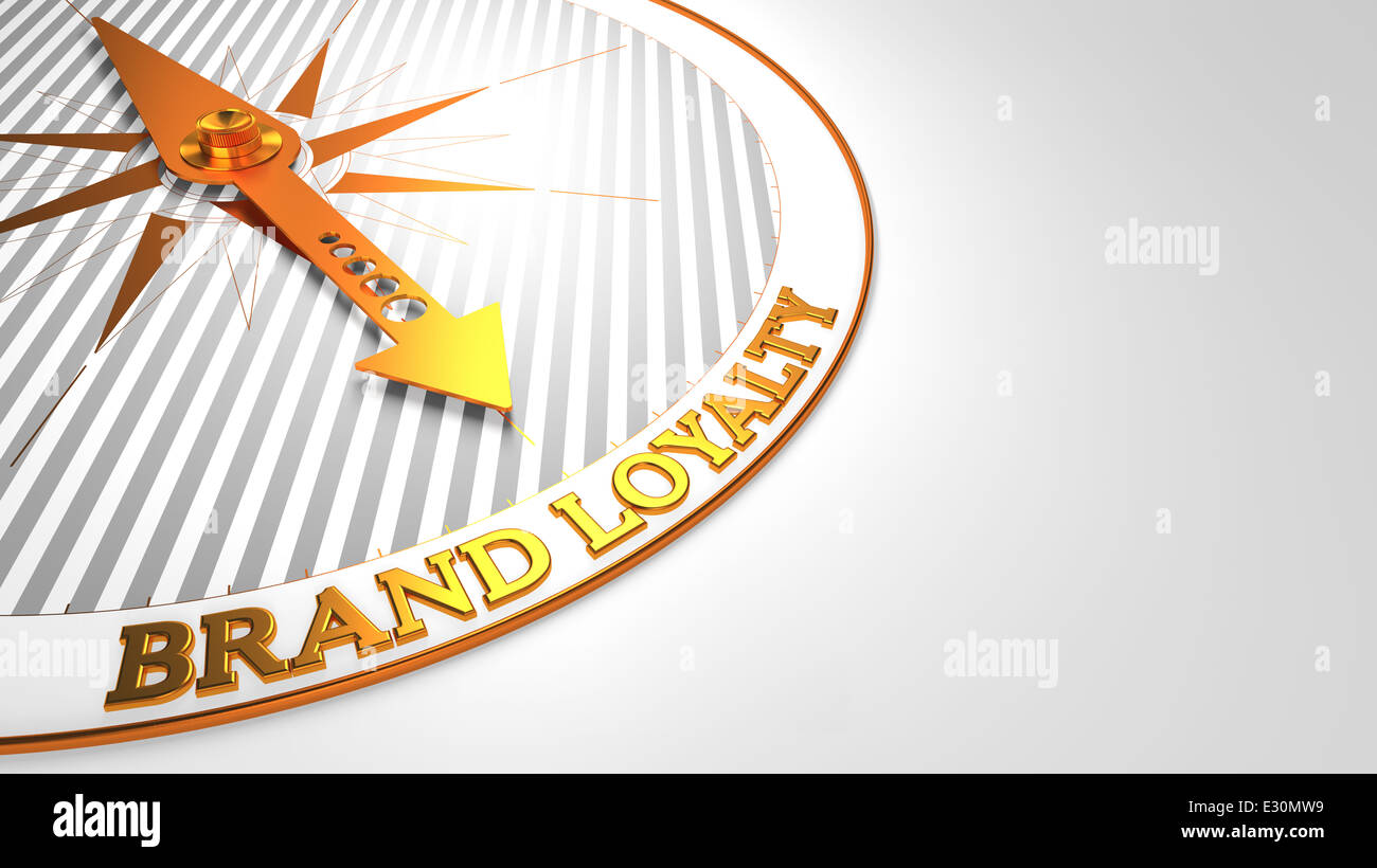 Brand Loyalty on White with Golden Compass. - Stock Image