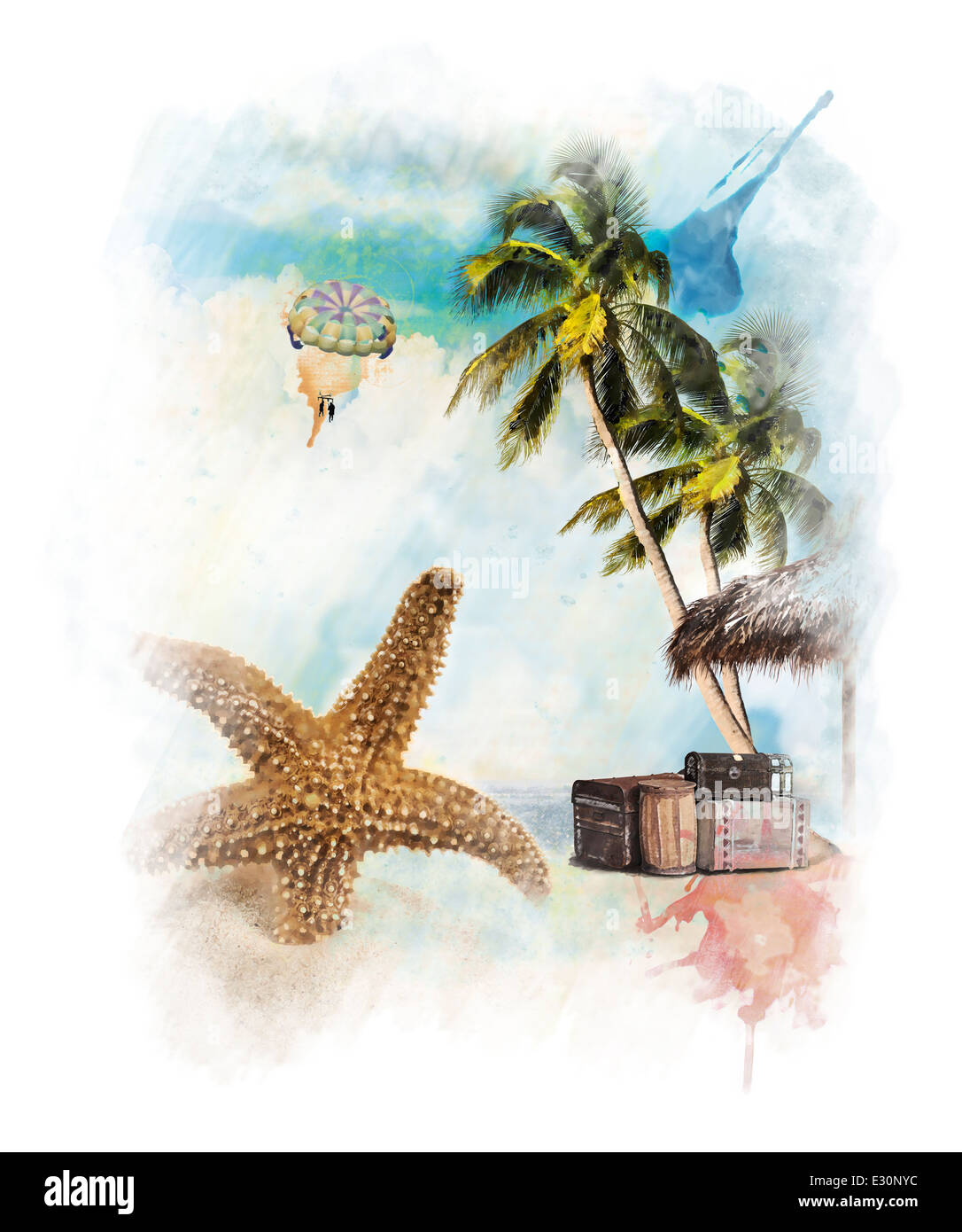 Watercolor Digital Painting Of Vacation Theme - Stock Image