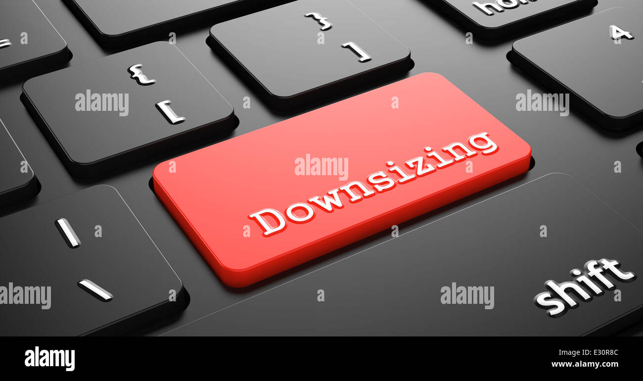 Downsizing on Red Keyboard Button. - Stock Image