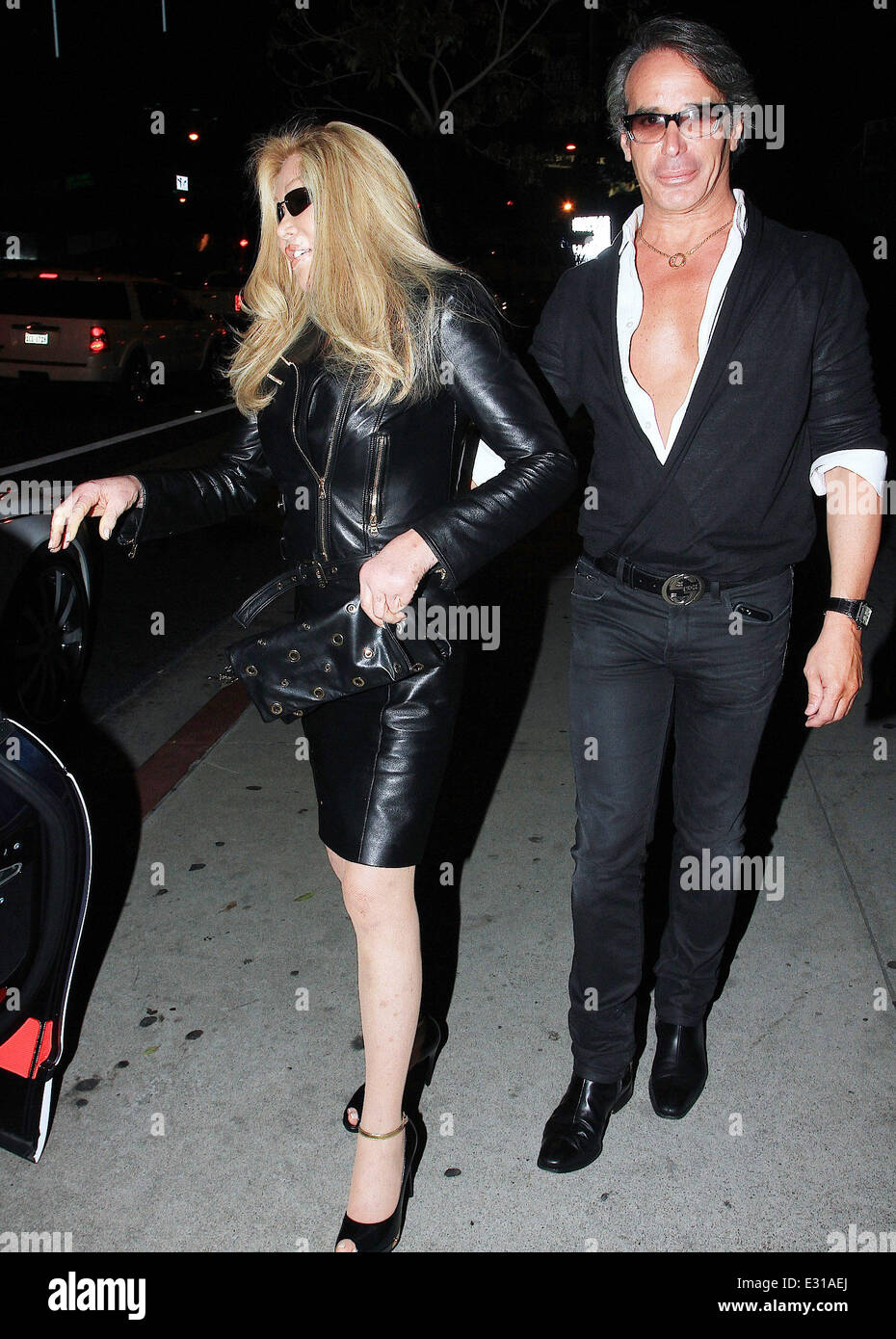 Jocelyn Wildenstein and Lloyd Klein at Boa Steakhouse in West Hollywood  Featuring: Jocelyn Wildenstein and Lloyd Stock Photo