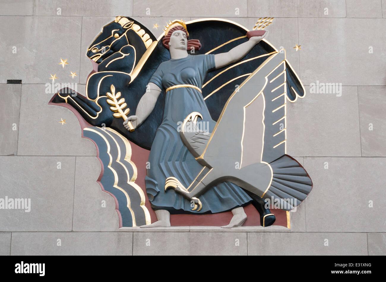 Progress Art Deco Relief at One Rockefeller Plaza - Stock Image