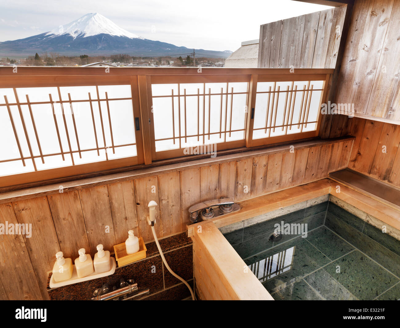 Onsen Hot Spring Bath Tab At Ryokan With Mount Fuji View Stock