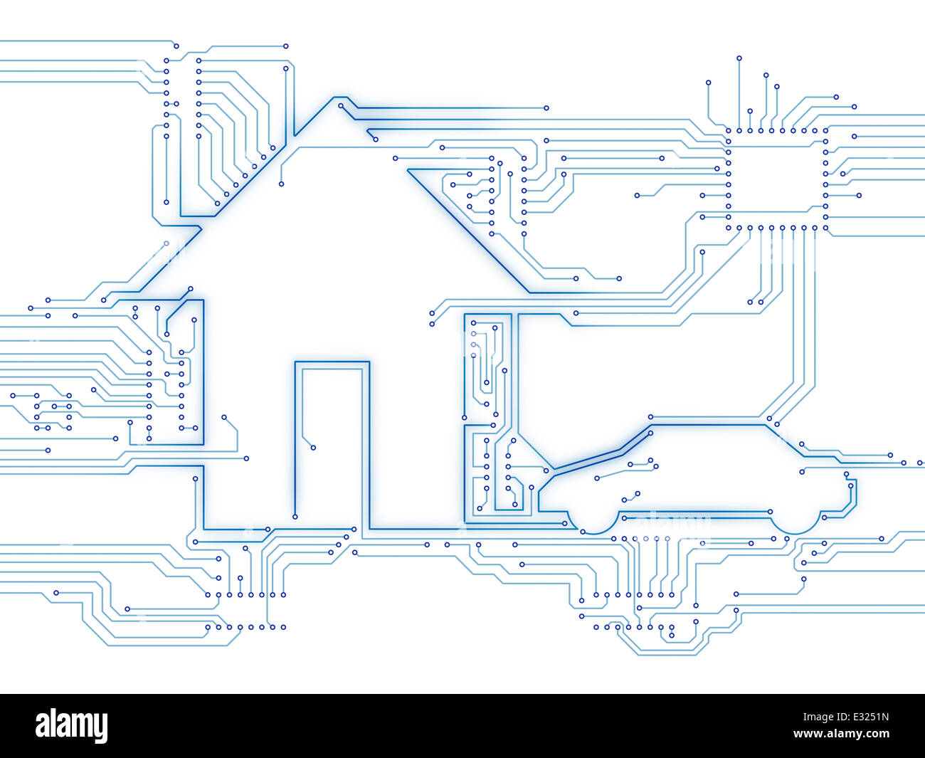 Connected house and electric car future home automation household technology conceptual illustration isolated on - Stock Image