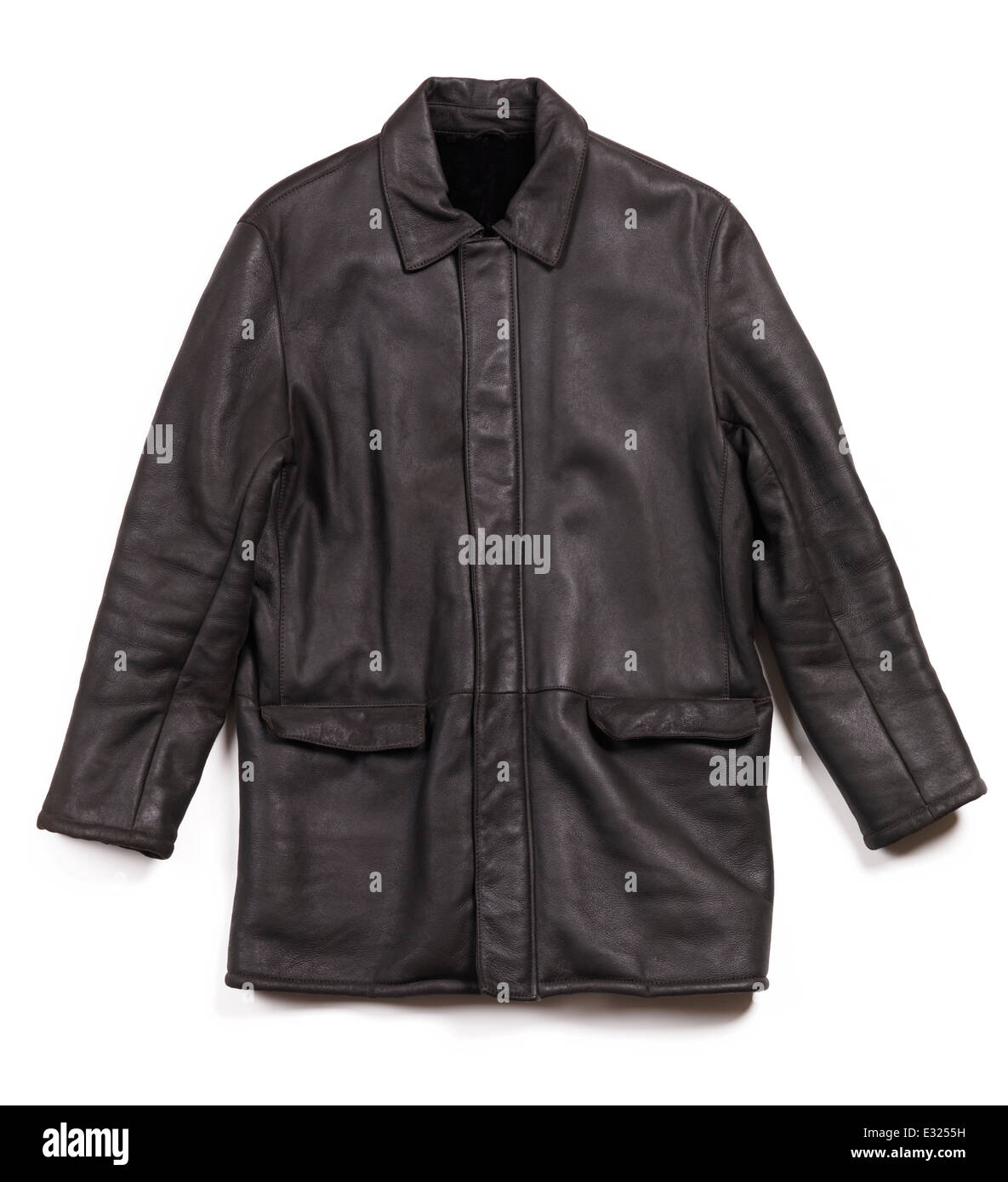 Sheepskin mens leather jacket coat isolated on white background - Stock Image