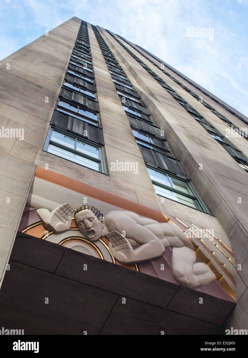 Low relief art deco panel of 'Sound' at 30 Rockefeller Plaza - Stock Image