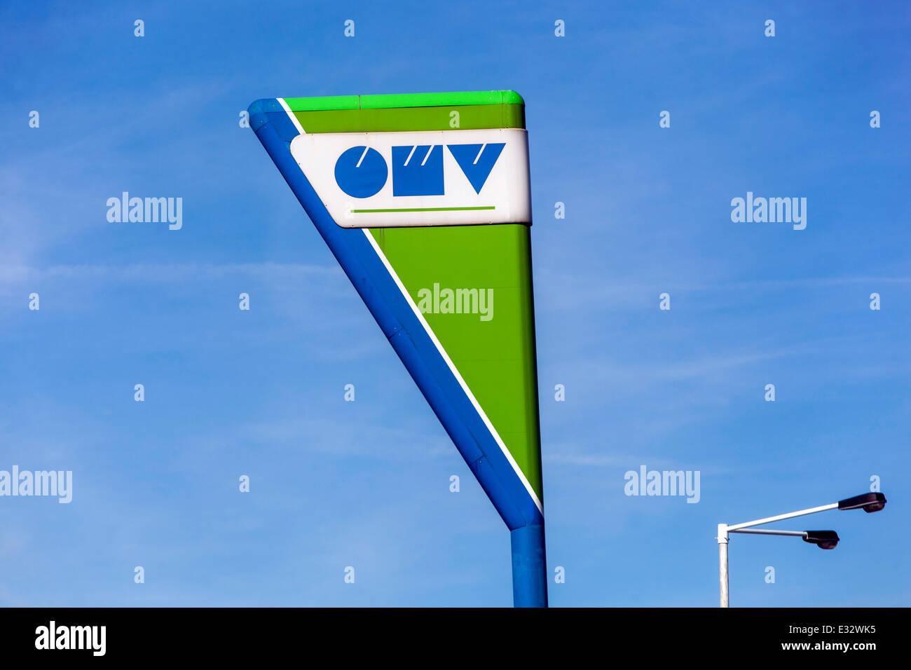OMV sign logo petrol station - Stock Image