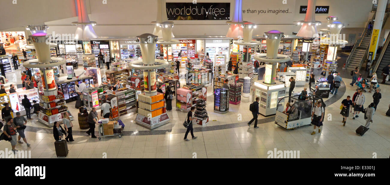 World Duty Free store at London Gatwick Airport North Terminal departure lounge and shopping concourse Crawley West - Stock Image