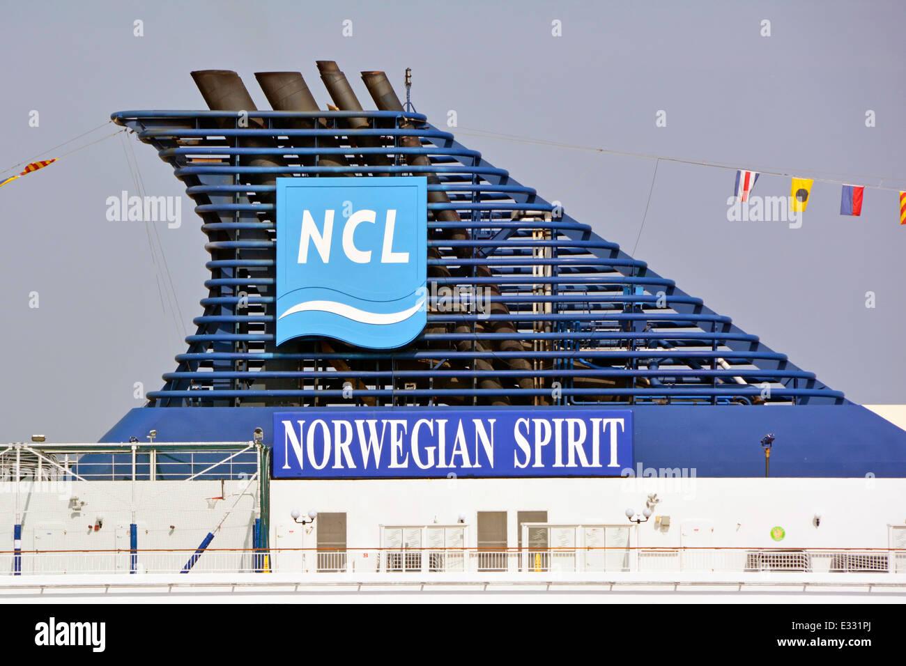 funnel and logo on norwegian cruise line liner norwegian