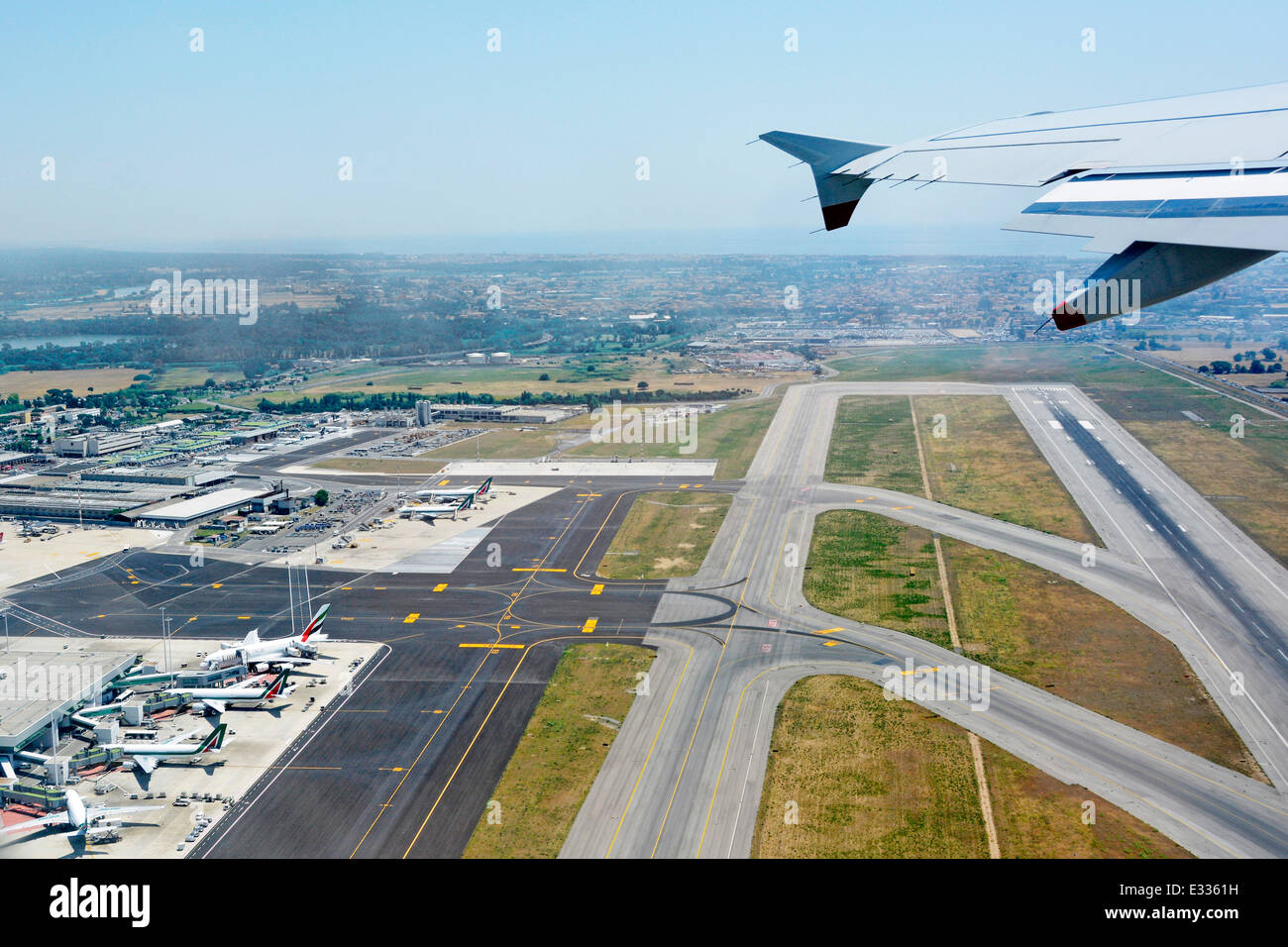 Runways and taxiing routes at Rome Fiumicino Airport - Stock Image