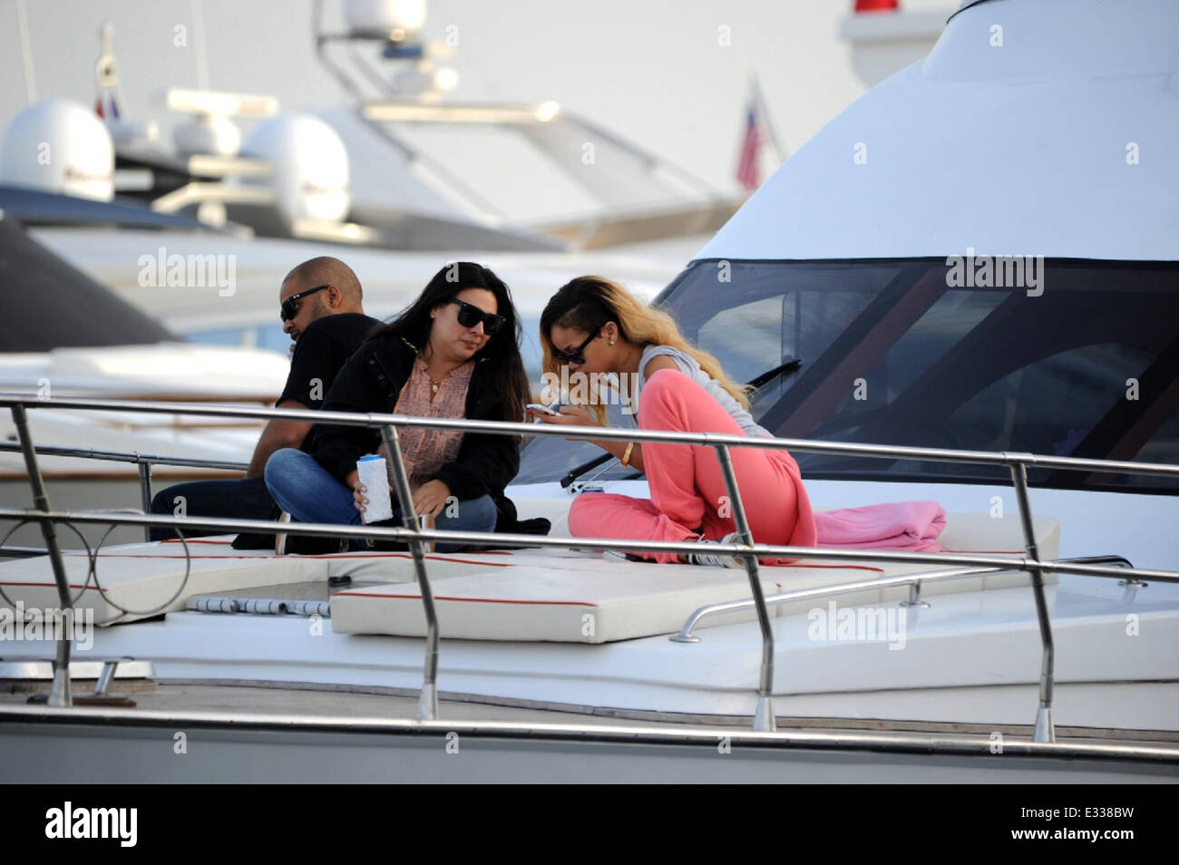 Singer, Rihanna relaxes on a yacht whilst visiting Istanbul