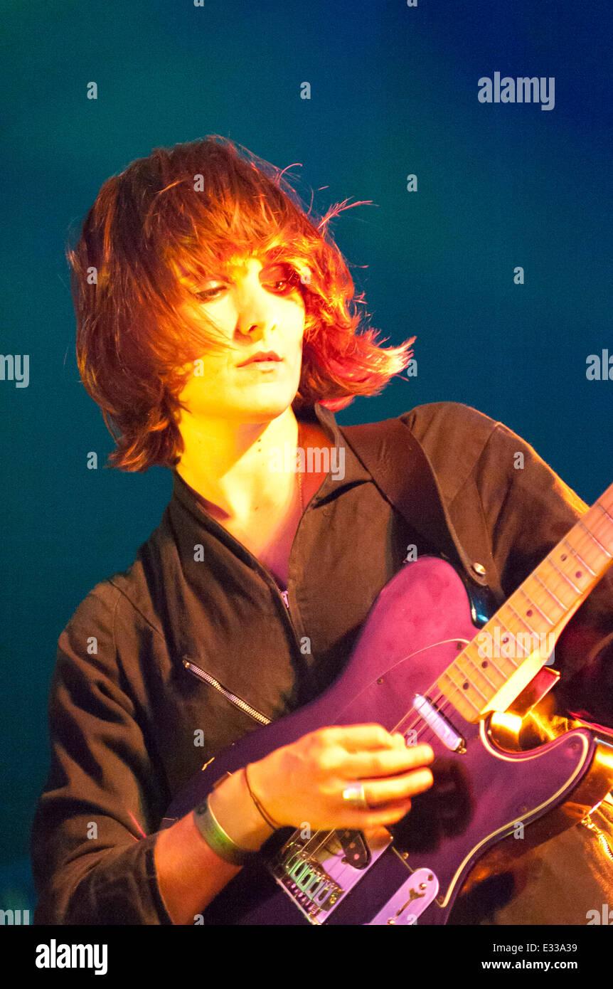 Llandeilo, Carmarthenshire. UK. 21st June,2014. Cate Le Bon performs at the 2014 Dinefwr Literature Festival. Credit: - Stock Image