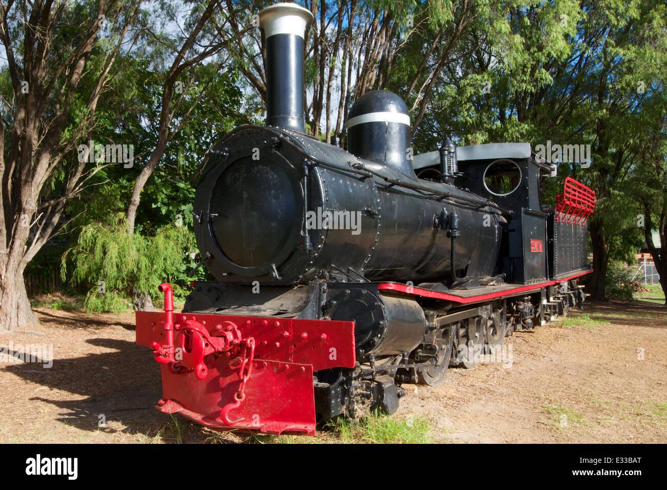Beyer Peacock 2-6-0 5475 steam locomotive of 1911 displayed in Pemberton, Western Australia - Stock Image