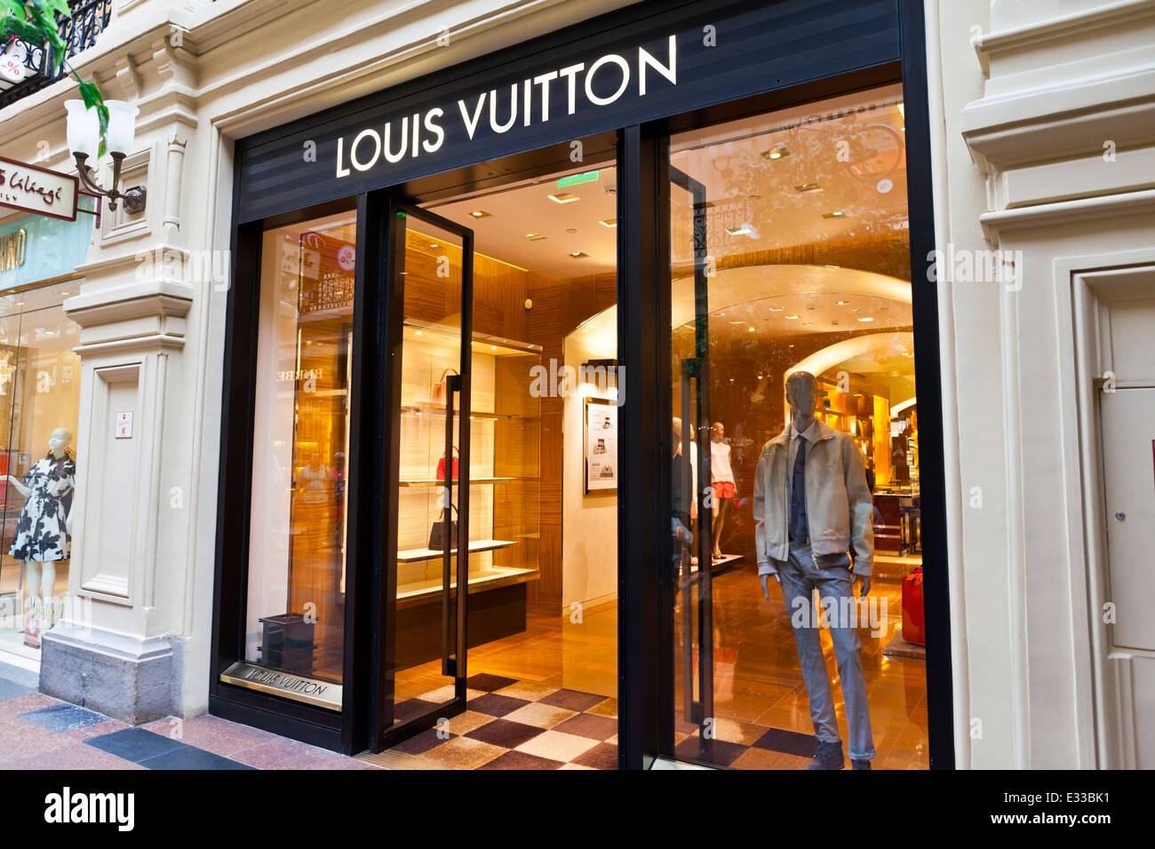 Luxury Louis Vuitton shop inside the famous Gum shopping mall in Moscow. - Stock Image