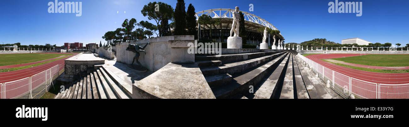 panorama photo of athletics track 'Lo stadio dei marmi' at the Italic Forum in Rome - Stock Image