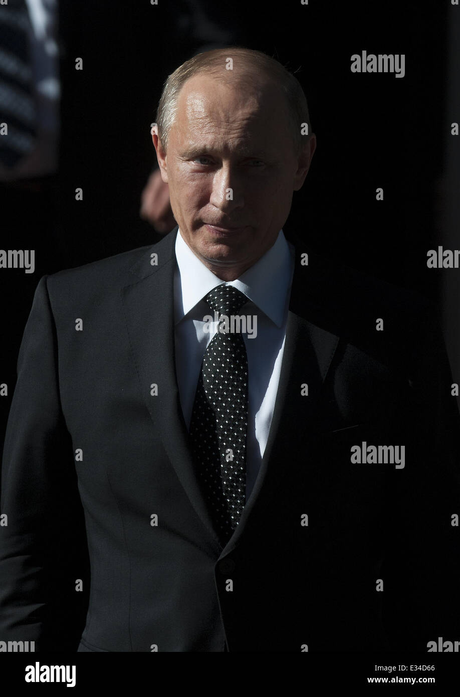 Russian President Vladimir Putin leaves 10 Downing Street after meeting with Prime Minister David Cameron  Featuring: Stock Photo