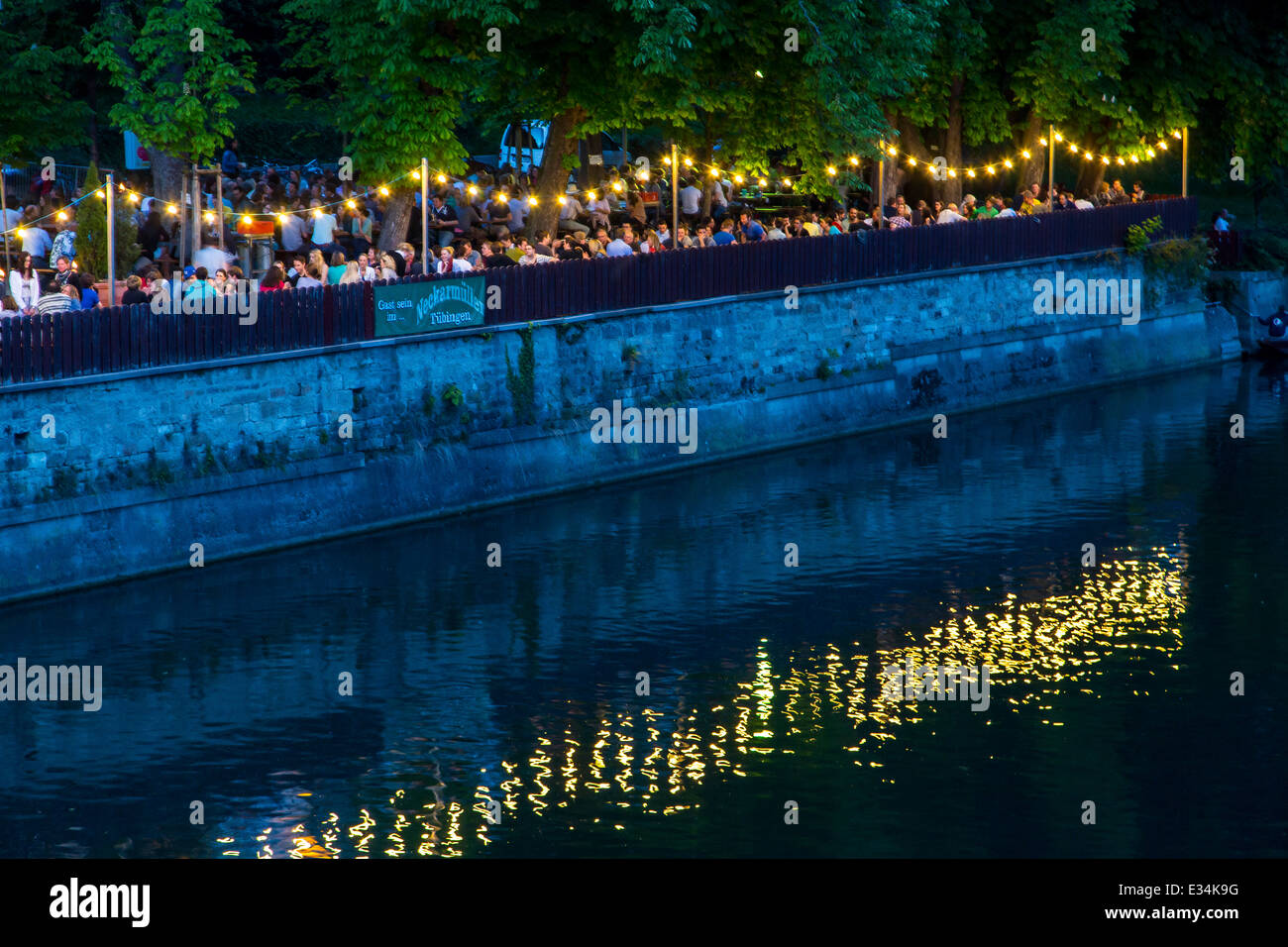 Beer garden right on the Neckar in Tübingen, beer garden, Neckarmuller, - Stock Image