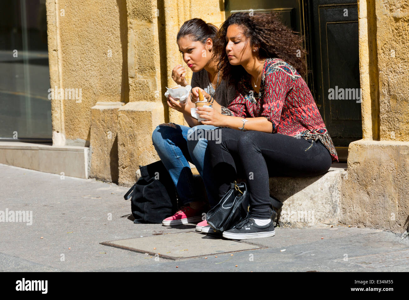 Typical Street Life in Aix-en-Provence, France - Stock Image