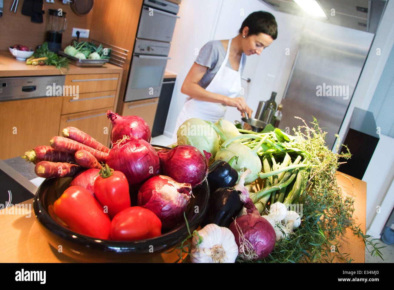 Alsatian Cooking Course with Isabelle Sipp in Colmar France - Stock Image