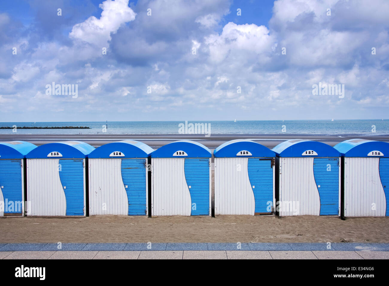 Dunkerque Malo Les Bains Beach Huts France - Stock Image