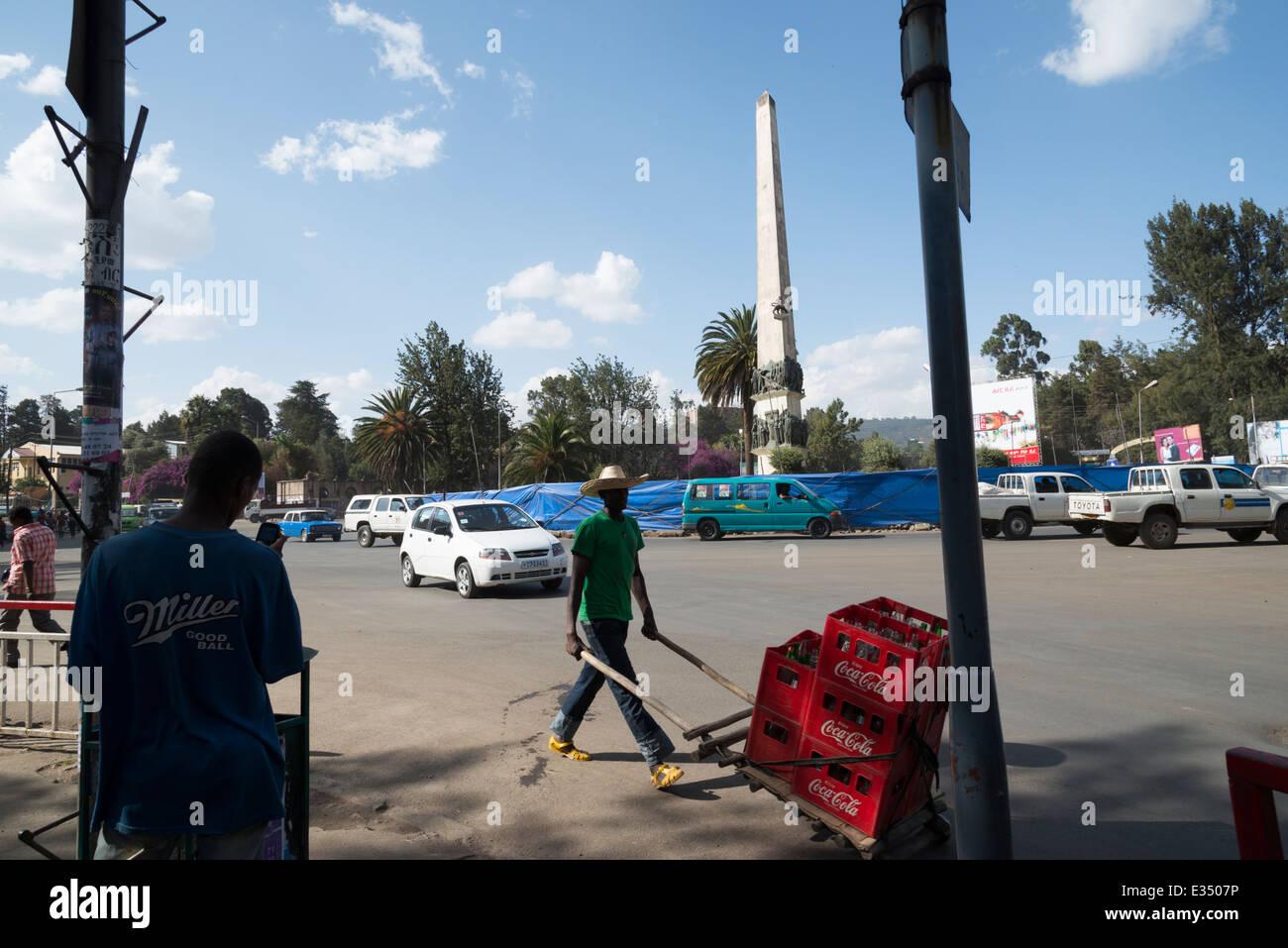 Yekatit 12 monument. Siddist kilo.Addis Abeba. Ethiopia - Stock Image
