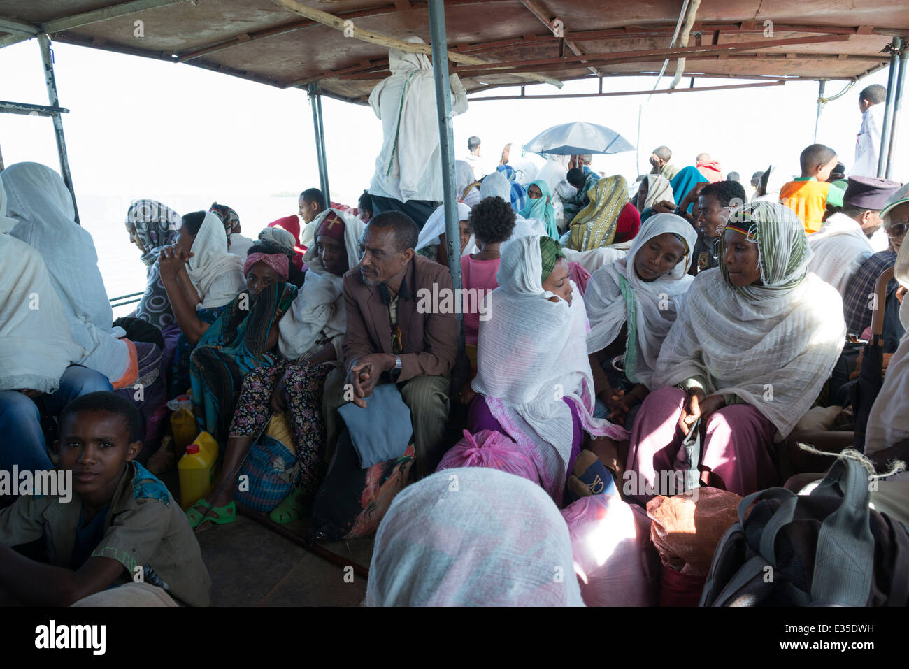 Ferry to Zege Peninsula. Bahar Dar. Lake Tana. Northern Ethiopia. - Stock Image
