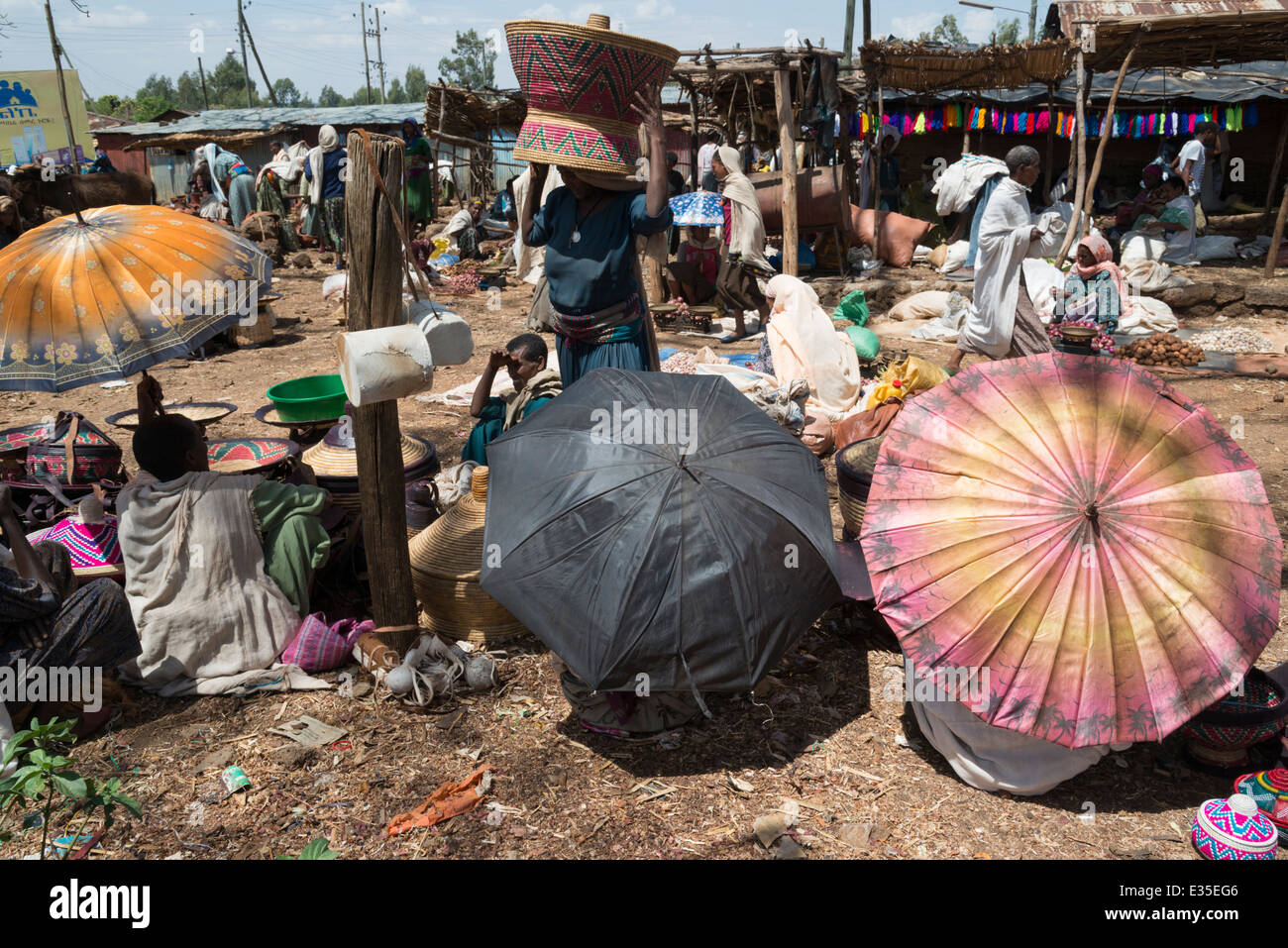 Weekly market at Afaf. Zege peninsula. Lake Tana. Northern Ethiopia. - Stock Image