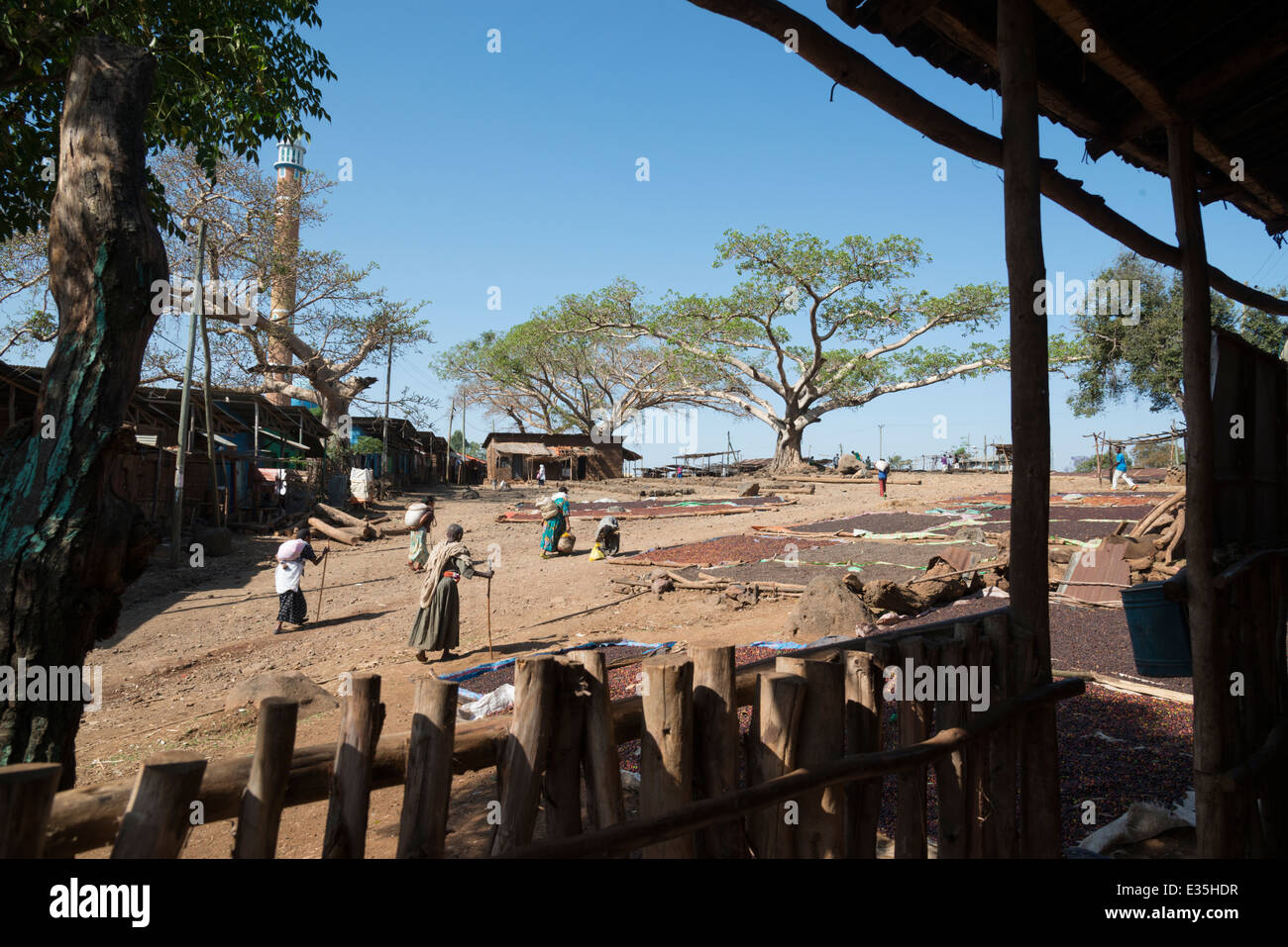 Market square. Afaf. Zege peninsula. Lake Tana. Northern Ethiopia. - Stock Image