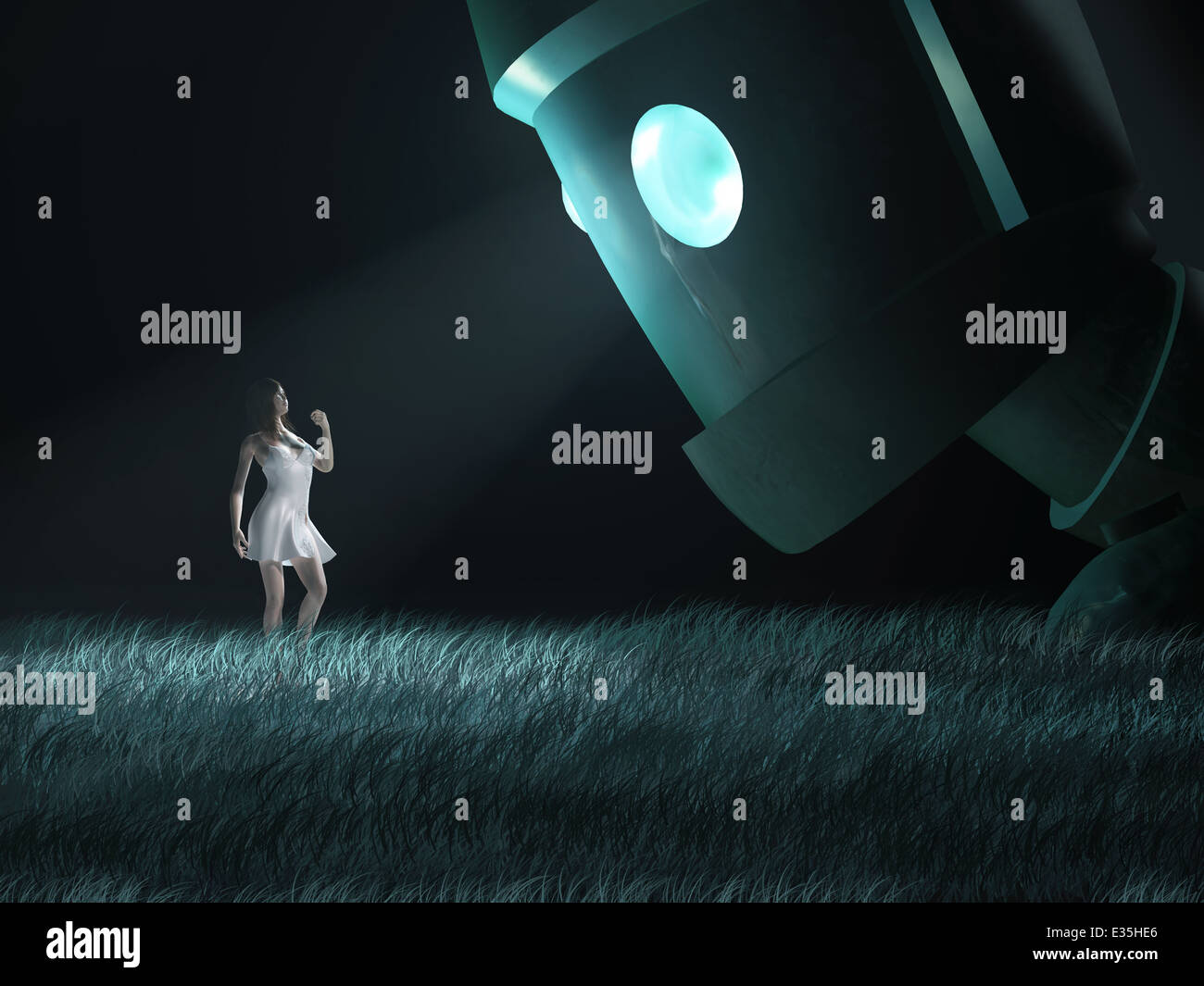 girl under the gaze of a monster - Stock Image