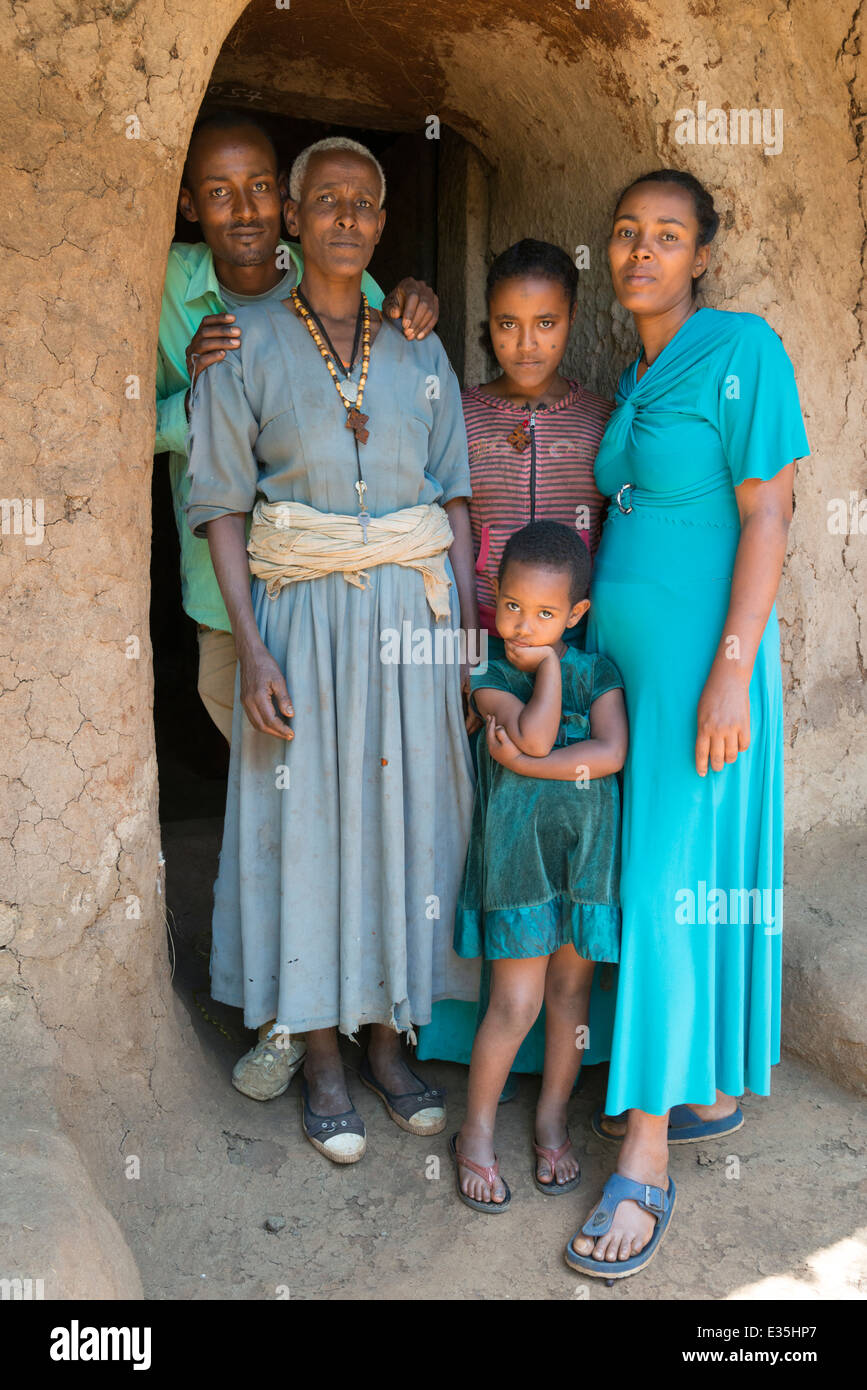 Ethiopian family. Afaf. Zege Peninsula. Lake Tana. Northern Ethiopia. - Stock Image