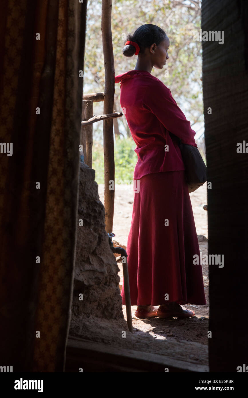 Portrait of a female youngster. Afaf. Zege peninsula. Lake Tana. Northern Ethiopia. - Stock Image