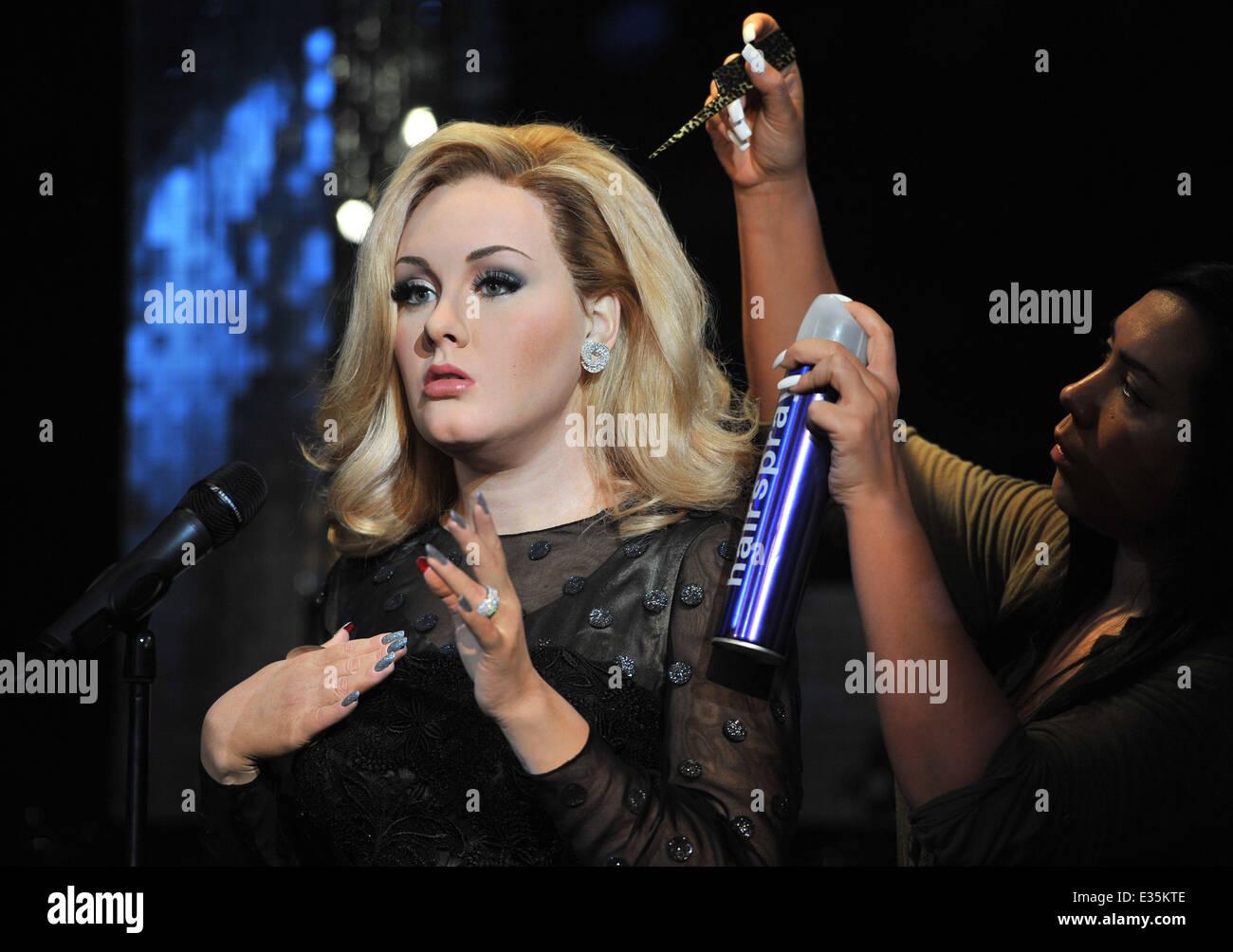 Adele waxwork unveiling held at Madame Tussauds London  Featuring: Adele Adkins waxwork Where: London, United Kingdom - Stock Image
