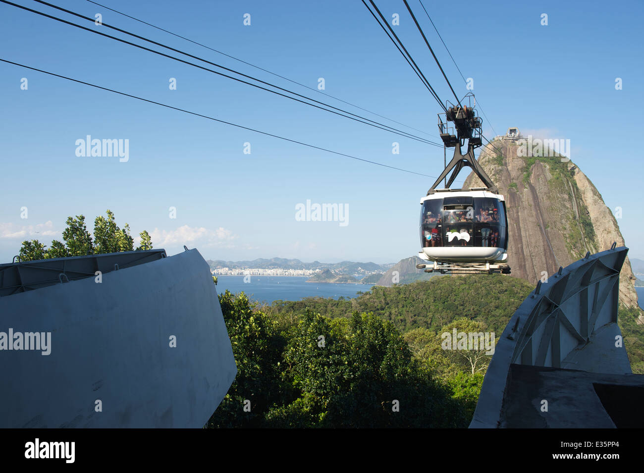 RIO DE JANEIRO, BRAZIL - OCTOBER 20, 2013: Cable car full of tourists arrives at the station on Sugarloaf Mountain. - Stock Image