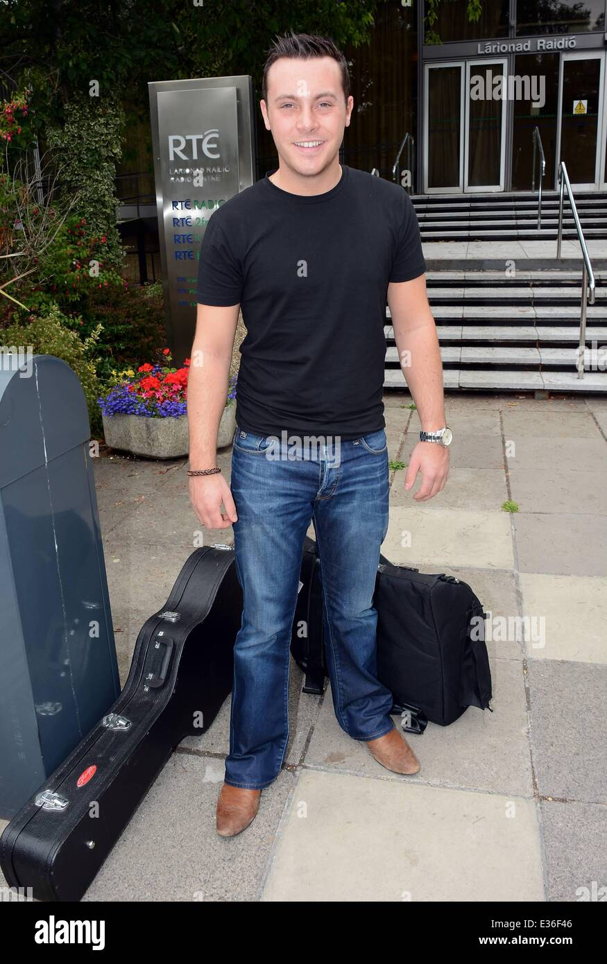 English born, Irish country singer, Nathan Carter at RTE Radio studios for The Mooney Show  Featuring: Nathan Carter - Stock Image