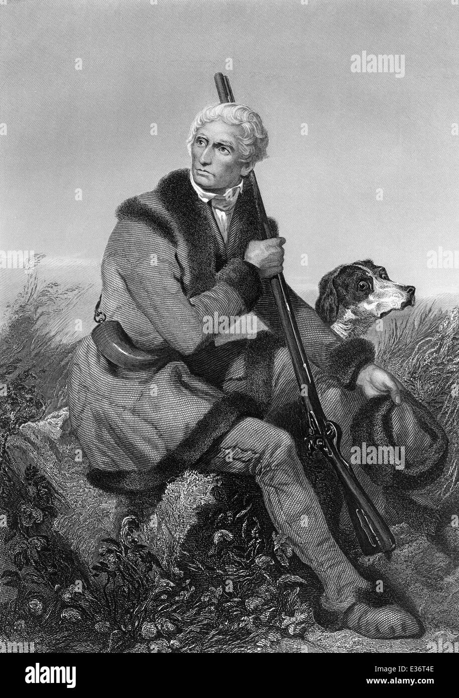 portrait of Daniel Boone, 1734 - 1820, an American pioneer and hunter, Stock Photo