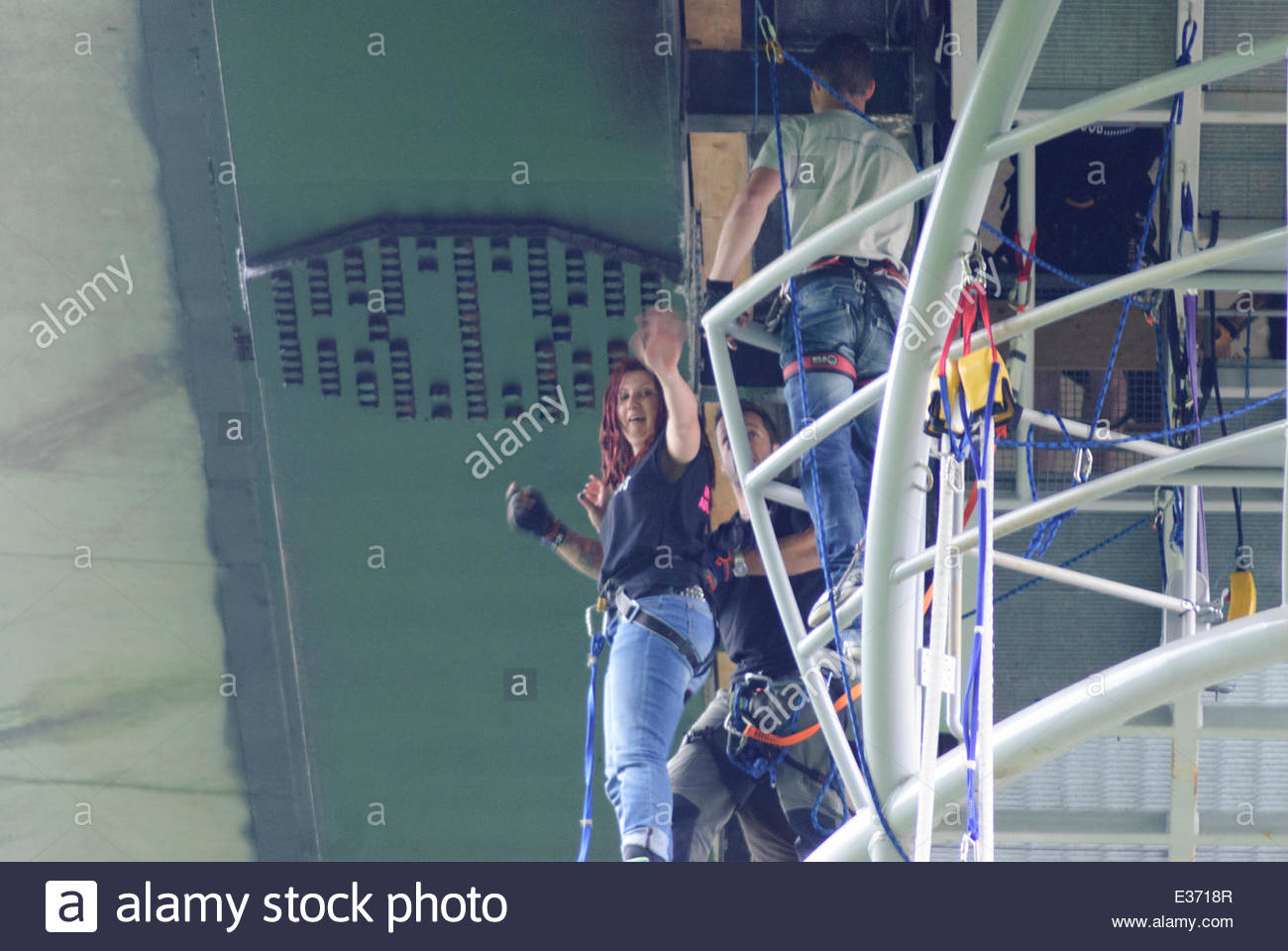 Killiecrankie, UK.  22 June,2014.   Alex Haighton Kerr prepares for her jump A group of animal lovers known as Team - Stock Image