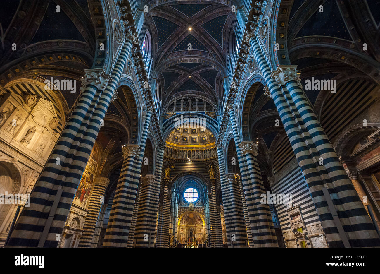 Interior of Siena Duomo, Tuscany, Italy - Stock Image