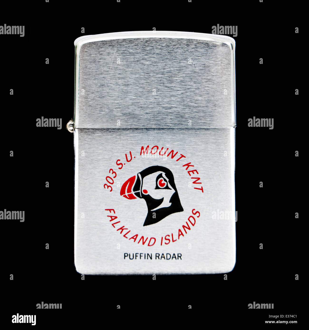 Very rare cigarette lighter by Zippo from 1982, bearing the message 'Falkland Islands, 303 S.U. Mount Key, Puffin - Stock Image