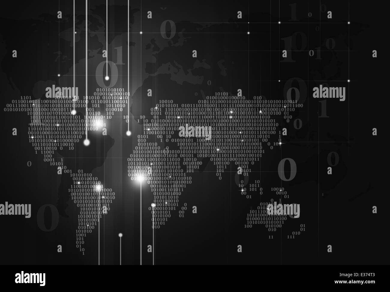 Abstract technology binary code world map on dark background stock abstract technology binary code world map on dark background gumiabroncs Choice Image