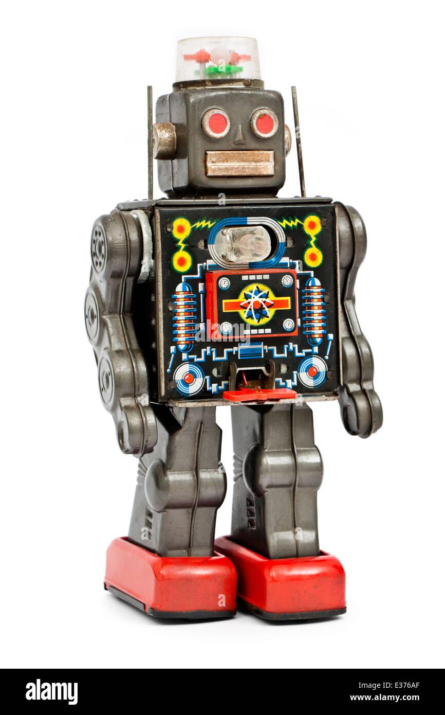 Vintage late 1950's Japanese tinplate clockwork robot toy - Stock Image