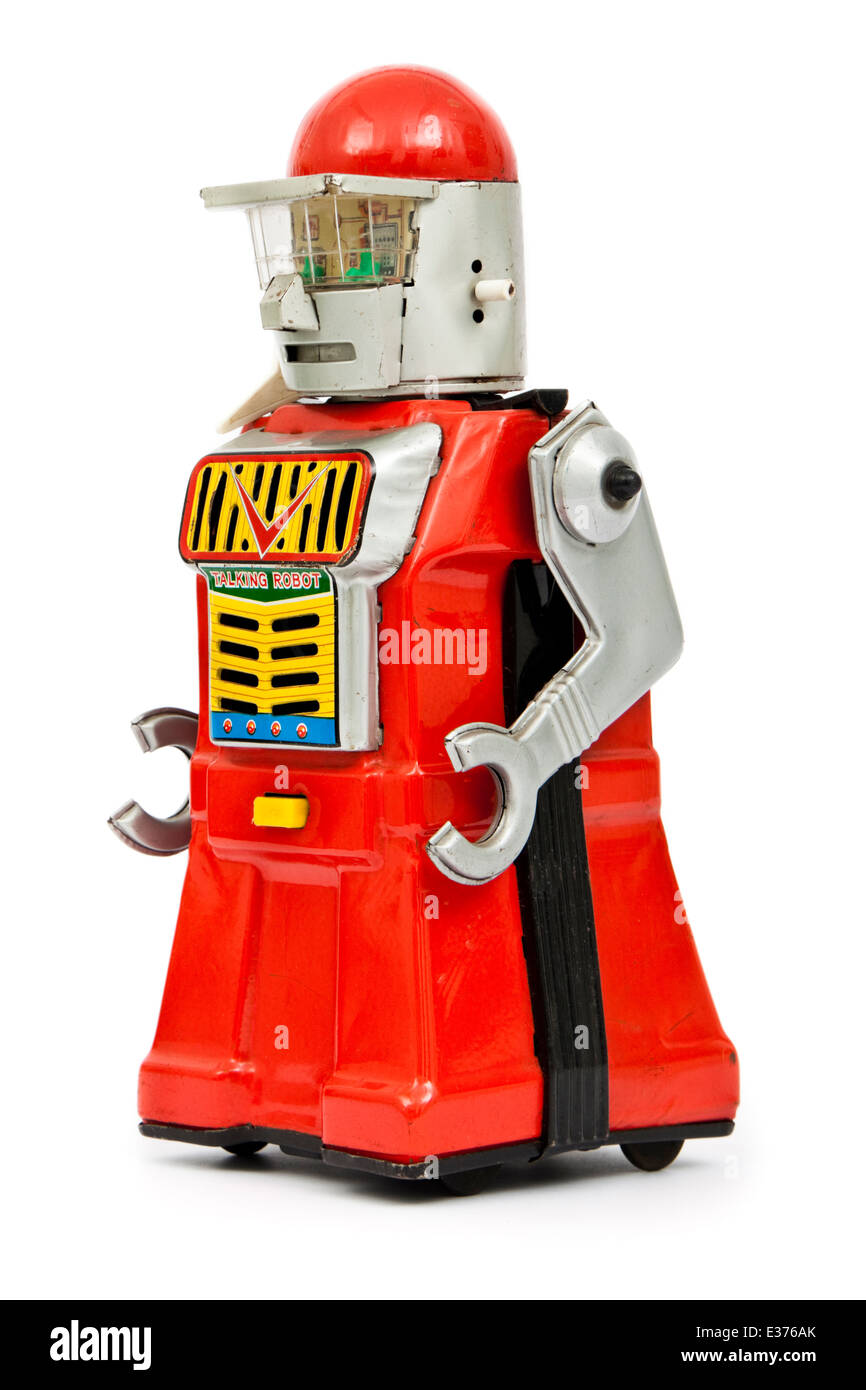 Vintage early 1960's Japanese tinplate battery-operated talking robot toy - Stock Image