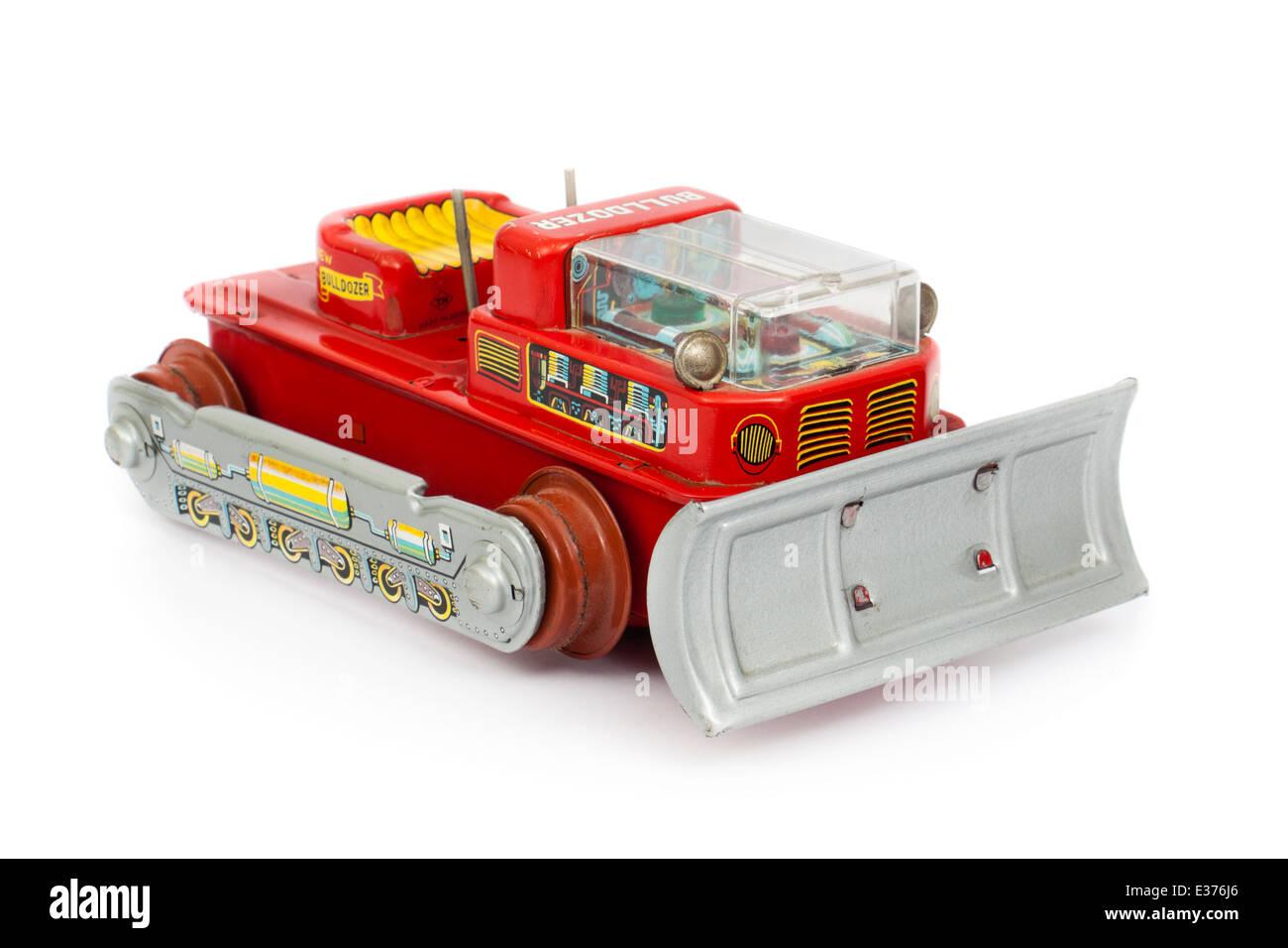 Vintage 1960's Japanese tinplate toy bulldozer - Stock Image
