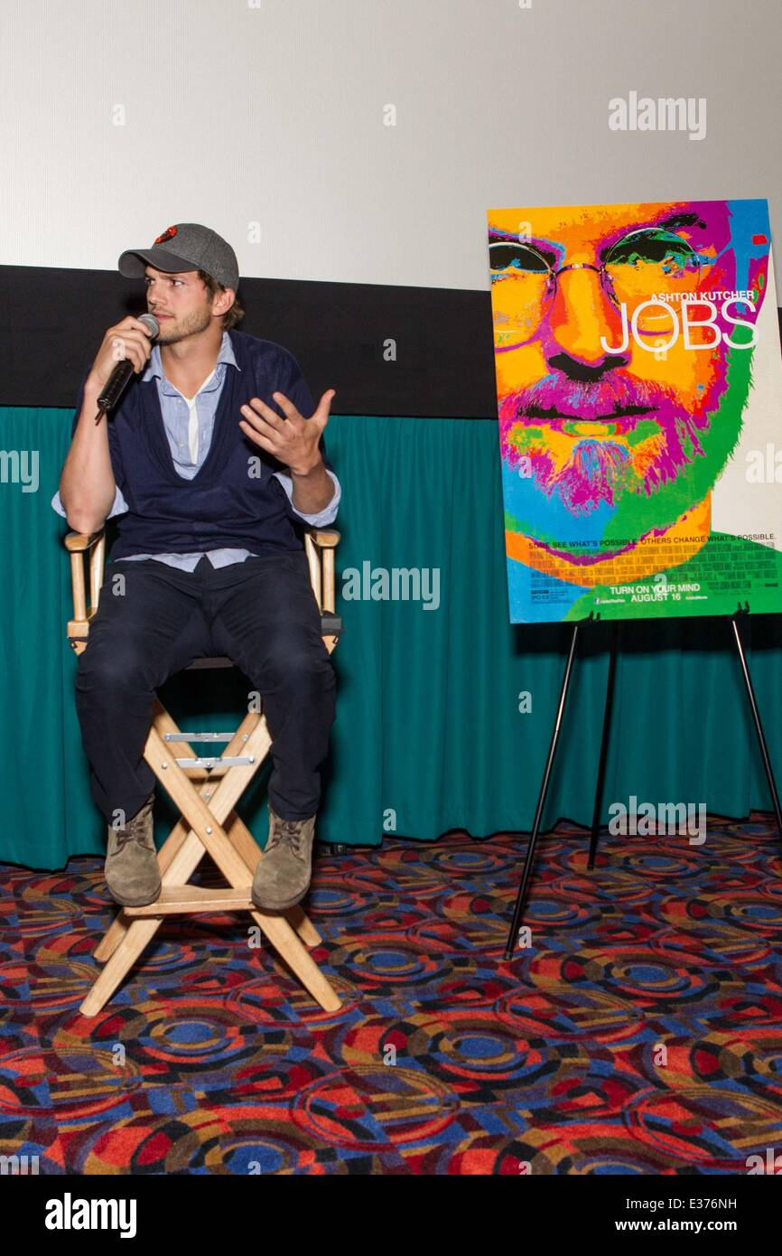 Open Road Films Q&A for the new Steve Jobs Biopic 'JOBS'  Featuring: Ashton Kutcher Where: San Francisco, - Stock Image