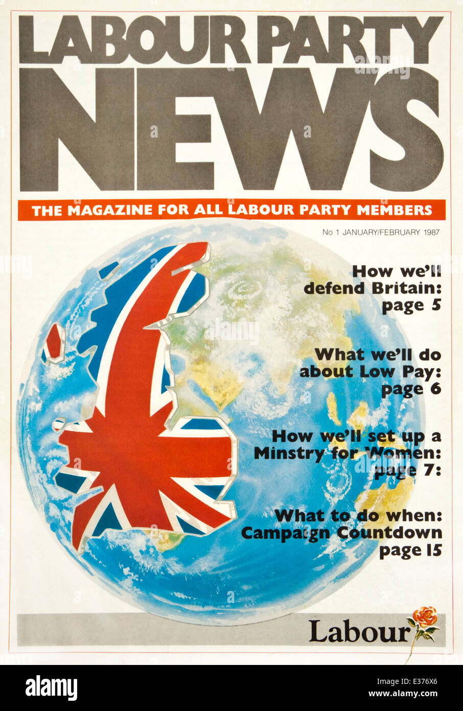 First issue of 'Labour Party News', the magazine for all Labour Party Members (January 1987) - Stock Image
