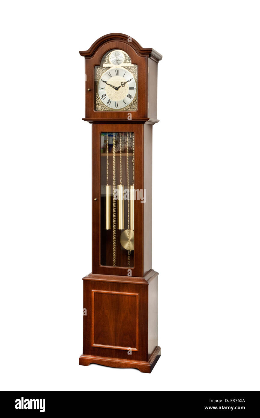 Reproduction 'Tempus Fugit' (Time Flies) Grandfather / longcase clock by Hermle. - Stock Image