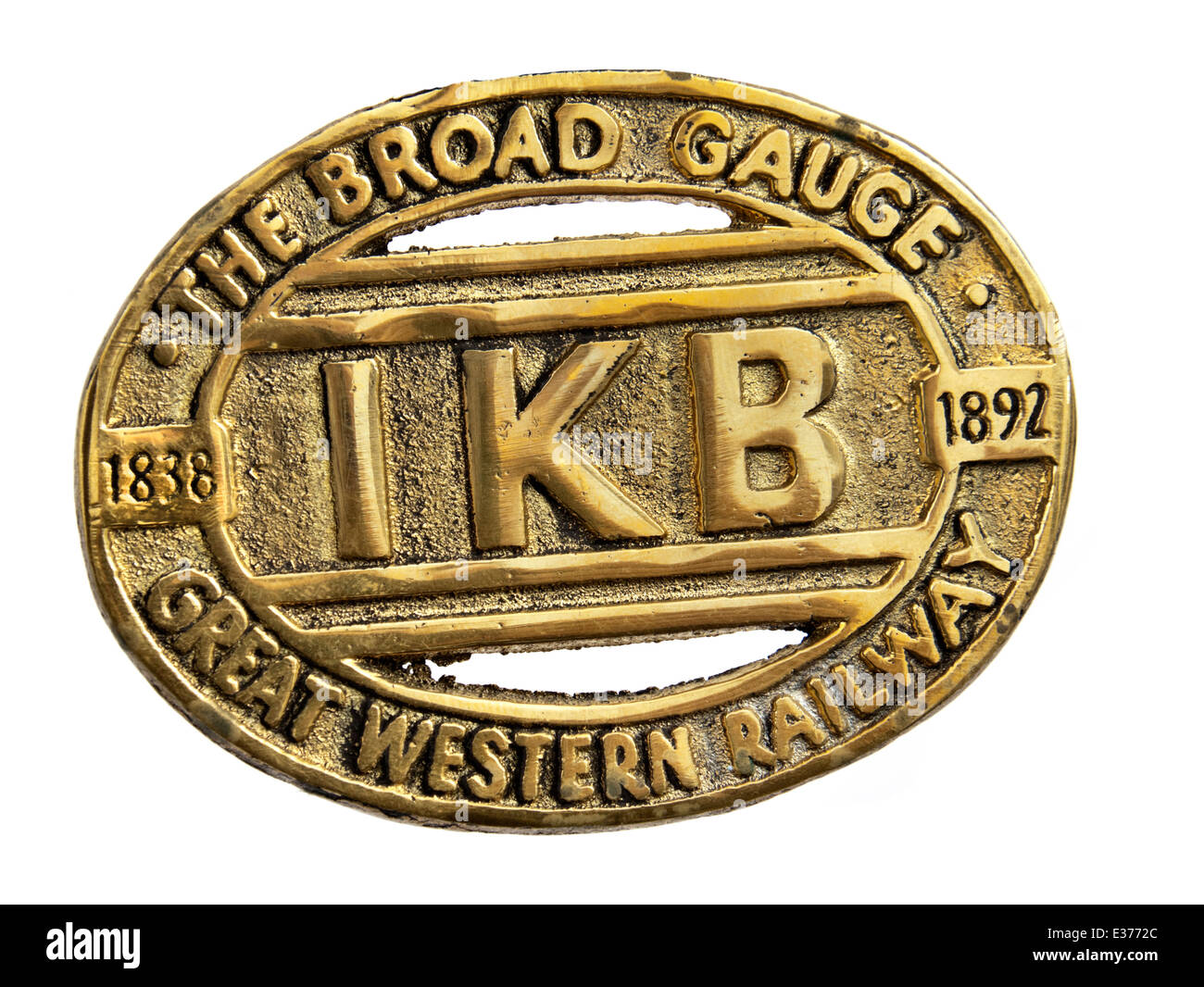 Antique brass plate, commemorating the life of the Broad Gauge railway track standard from 1838 to 1892. - Stock Image