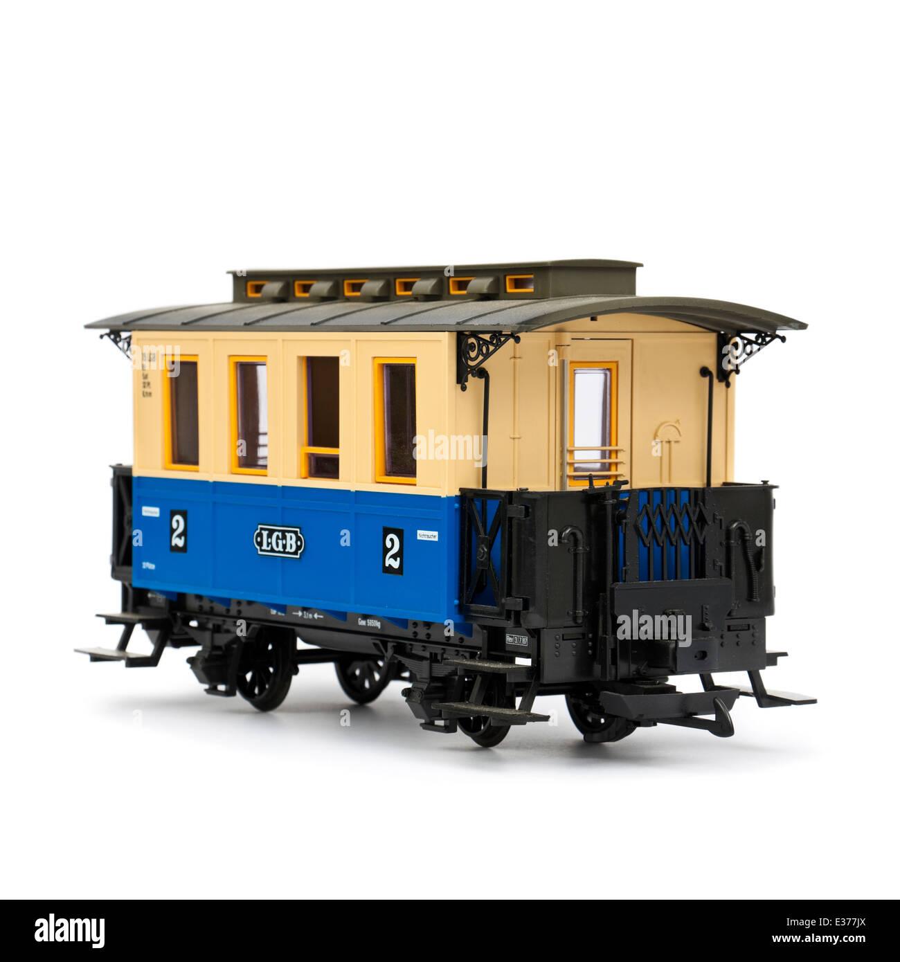 LGB (Lehmann Garden Railway) G-Scale model passenger coach - Stock Image